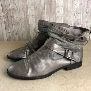 Blowfish | Pewter Metallic Slouch Ankle Boots